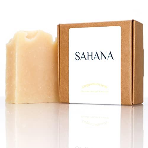 SAHANA - Ziegenmilchseife Pflanzenseife, Naturkosmetik Seife mit ätherischen Ölen, Palmölfrei, Plastikfrei, handgemacht, 100g