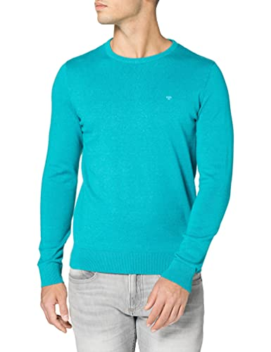 Tom Tailor 1012819 Basic Crewneck Suter Pulver, 26255 Aqua Sea Blue Melangé-Juego de Mesa de Mezcla, Color Azul, XXL para Hombre