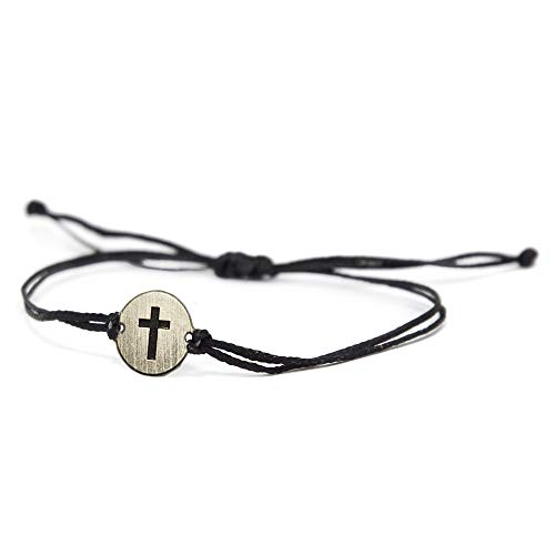 Stainless Steel Cross Charm on Double Black String Adjustable Bracelet for Men and Women - Waterproof, Hypoallergenic Jewellery