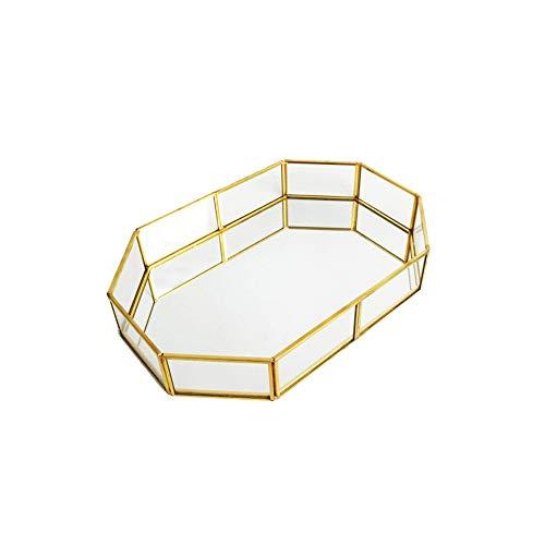Vintage Makeup Glass Storage Plate Jewelry Organizer Mirrored Glass Tray Handmade Home Decorative Metal Tray Polygon Type S