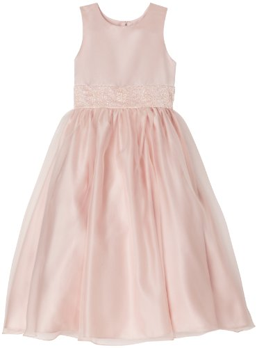 Big Sale Us Angels Girls 7-16 Dress With Handbeaded Cummerbund, Blush Pink, 8