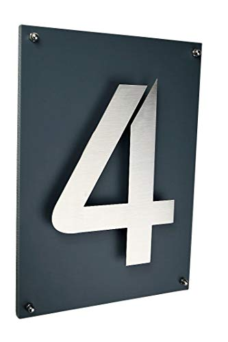Hausnummer 4 Hausschild Edelstahl V2A ITC Bauhaus Design 2D inkl. Acrylplatte in anthrazit wählbar...