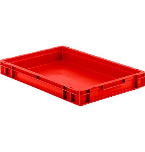 SSI Schäfer EF 6070 Eurokiste Kunststoffbox Transportbox offen ohne Deckel, 600x400 mm, 14,3 l, 20 Kg Tragkraft, Made in Germany, Rot
