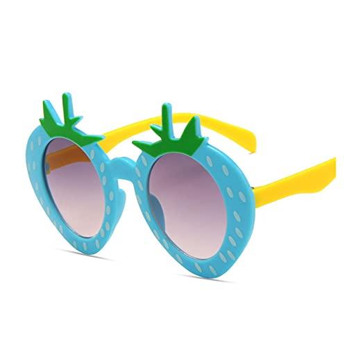 YTNGYTNG Gafas de Sol Red Fresa NIÑOS Gafas de Sol Negro Blanco Amarillo Azul Niños Gafas Girls Bebé Bebé Lentes de Colores Lentes Anti-UV Tendencias 2021 (Objektiv-Farbe : C04)
