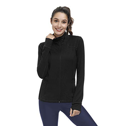Dolcevida Women's Lightweight Full Zip Active Wear Workout Yoga Track Jackets Athletic Running Jacket Top with Zip Pockets and Thumb Holes (Black, XL)