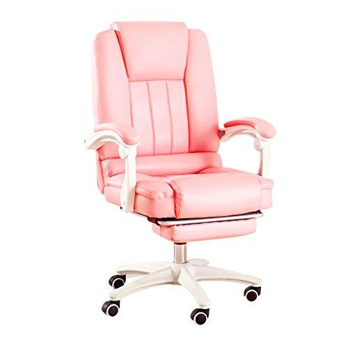 DFLY Günstiger Gaming Stuhl Bürostuhl Rosa, Ergonomischer Drehstuhl Aus Leder Mit Fußstützen, Bequeme Höhenverstellbare Schreibtischarbeits-Computerstühle