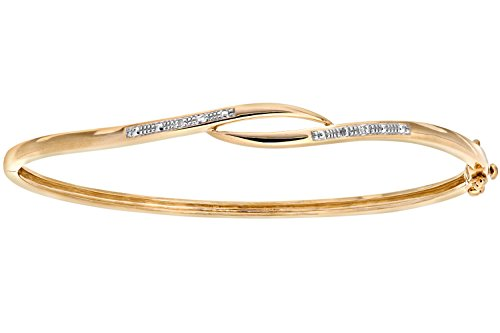 Naava vrouwen 9 ct geel goud diamant Pave Set Crossover Bangle