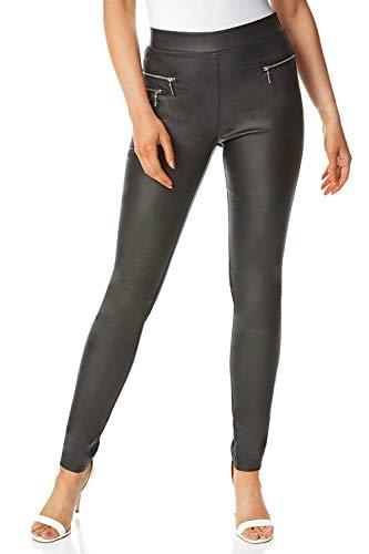 Roman Originals dames joggingbroek van kunstleer, elegante, casual mode voor formele gelegenheden van stretch, om uit te gaan, lang, trendy broek