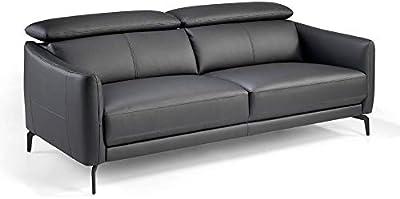 Angel Cerdá Canapé 3 places capitonné en cuir de vachette Noir Pieds en acier noir massif Style moderne
