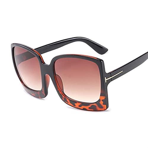 PPCLU Gafas de Sol cuadradas Grandes de Lujo para Mujer diseñador Degradado Retro Gafas de Sol para Mujer de Gran tamaño de Sombras Negras (Lenses Color : Black Leopard)