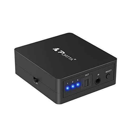 Portta Commutateur audio TOSLINK SPDIF fibre optique numérique avec télécommande 3x1 Switch Splitter Transmission de signal 1:1 sans pertes supporte Lpcm 2.0 DTS Dolby-AC3
