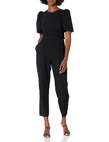 Eliza J Women's Waist TIE Balloon Sleeve Jumpsuit Dresses, Black, 12