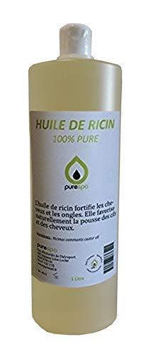 Huile végétale de RICIN 100% PURE - PURESPA By Purenail , 1 Litre , soin du cheveu et de l'ongle