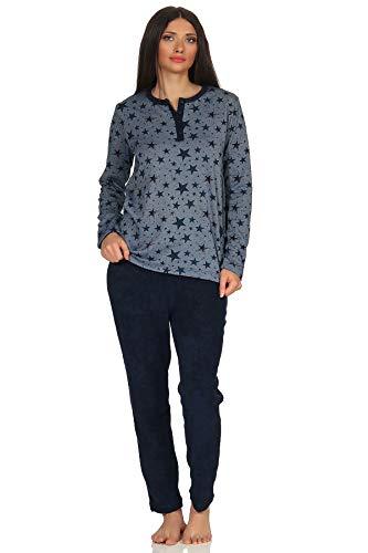Damen Frottee Pyjama Schlafanzug –Sterne als Motiv - auch in Übergrößen bis Gr. 60/62, Farbe:Marine, Größe2:44/46