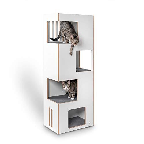 CanadianCat Company ® | Cat Castle L 2.0 Kratzmöbel | Natur-weiß mit grauem Filz | der andere Kratzbaum !