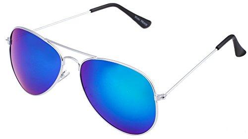 Unbekannt Sonnenbrille in verschiedenen Farbe (One size, Silber Königsblau)