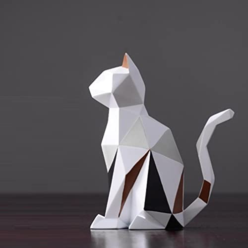 JimAndAlice Estatuas de Gato de Conejo de Origami de Resina Moderna Escultura de Arte Animales geométricos artesanías Mueble de TV decoración de Oficina