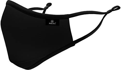 Premium mun- och nässkydd, svart med näsklämma och justerbara remmar, munskydd, mask, bomull, tvättbar och hållbar ansiktsmask