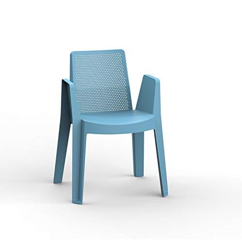 resol Play sillón Silla con Brazos de plástico para jardín Exterior terraza - Color Azul Retro, Set de 4 Unidades