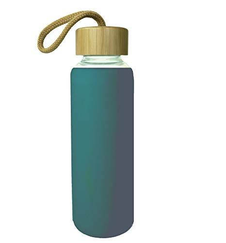 Wenburg Trinkflasche/Glasflasche mit Bambus-Deckel 0,35l / 0,5l, Silikonhülle. Glas Sportflasche/Wasserflasche. Für Unterwegs (Türkisgrün, 500 ml)
