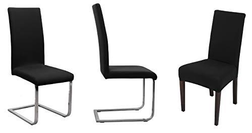 BEAUTEX Stuhlhusse Jersey, 2er Set elastische Stretch Husse Baumwolle Bi-Elastic, Farbe wählbar (Schwarz)
