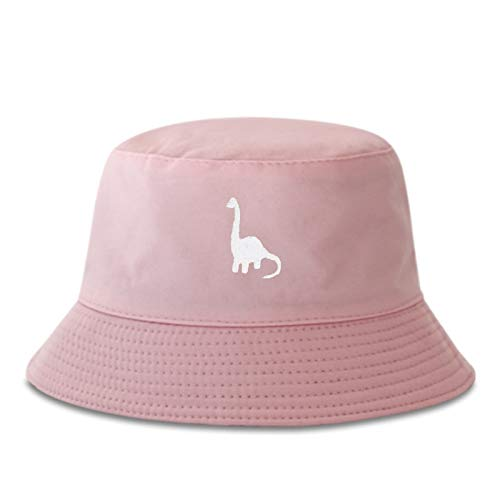 Sombrero de pescador de algodón para hombre, sombrero de pescador bordado de dinosaurio, sombrero de hip hop, sombrero de pescador para mujer (color: rosa, tamaño: normal)