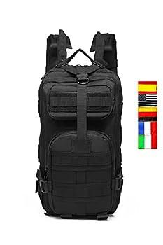 Sac à dos tactique militaire 30 L 5 drapeaux, sac d'assaut MOLLE de capacité utilitaire militaire, sac d'urgence, pour la chasse, la randonnée, le camping, le gymnase Crossfit, le collège (NOIR)