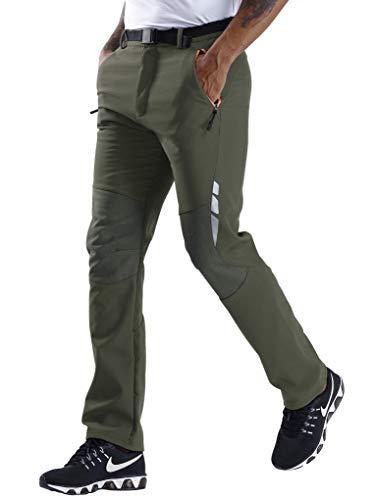 SANMIO Herren Wanderhose Funktionshose Wasserdicht Softshellhose Outdoorhose Winddicht Atmungsaktiv Trekkinghose (Grün(Dünn), S)