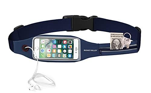 Rhino Valley Sport Jogging Gürtel Hüfttasche mit 2 Taschen für Geld Schlüssel Ausweise, Lauftasche für iPhone 7/6S Plus, Galaxy S10/S10 Plus/S10e/S8, Smartphone bis zu 6