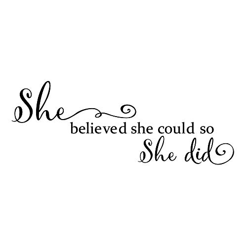 She Believed She Could so She Did  Wall Decal Inspirational Quote Wall Words Sticker Art Letters Girl Bedroom Decor