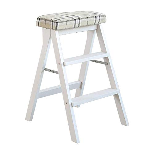3-Stufen-Hocker Weiß Holzküche Home Leiter Adult High Stool Folding Multifunktions-Tritthocker für die Küche im Freien