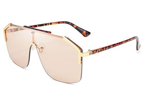 FEISEDY Classic Großer Rahmen Schild Sonnenbrille UV400 Schutz Flat Top Brille für Damen Herren B2634,Leopard Halbrahmen / Champagner Linsen