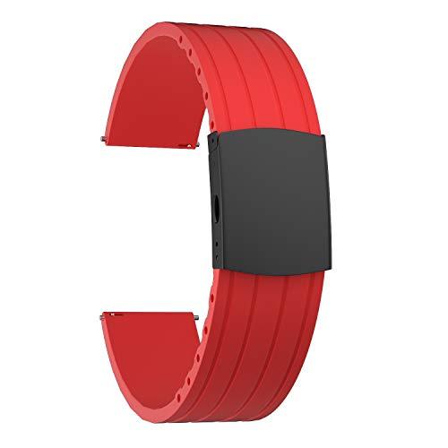 SOUWILA Correa Reloj Recambios Correa Relojes Caucho 16/18/20/22/24mm Silicona Correa Reloj con Acero Inoxidable Hebilla Desplegable (20mm, Red-Black)