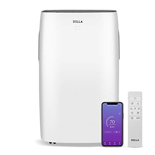 DELLA 14000 BTU Portable Air Conditioner Wifi Enabled Fan 157 Pint Per 24Hr Dehumidifier for Rooms Up To 700 Sq. Ft. Self Evaporation LCD Remote Control Window Kit Wheels