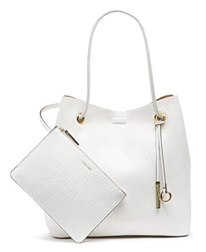 Calvin Klein Gabrianna Bubble Lamb North/South Key Item Tote, WHITE COMBO