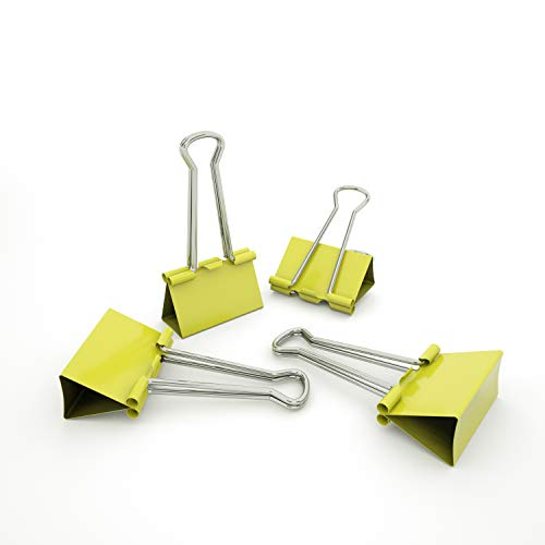 Nctinystore Binder Clips Small Metal Clamp 0.75 inch / 19 mm (Yellow, 40-PCS)