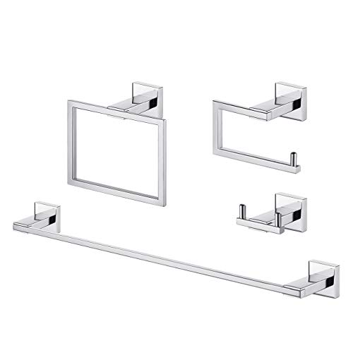 KES Bathroom Accessories Set 4 Piece SUS 304 Stainless Steel Towel Bar Double Robe Hook Toilet Paper Holder Towel Ring RUSTPROOF NO Drilling Glue Wall Mount Polished Finsh, LA240DG-42