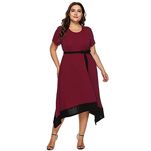 Vestido Largo Bohemio Vestido De Playa para Mujer Vino Rojo Cinturón De Lazo con Dobladillo Irregular Y Talla Grande Vestido Largo Falda Oscilante De Gran Tamaño Informal Vestidos De Fiesta De Pri