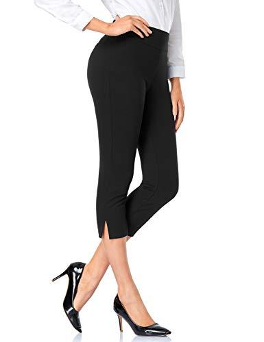 Tapata Mujer 52cm Pantalones Pantalones Pierna Recta Capri Elásticos de Cintura Alta Pantalones con Puño para Oficina Negocios Casual 52cm, Negro, XL