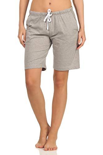 NORMANN-Wäschefabrik Damen Shorty Pyjama Hose kurz - Mix & Match - perfekt zum kombinieren 102 224 90 902, Farbe:grau, Größe2:36/38