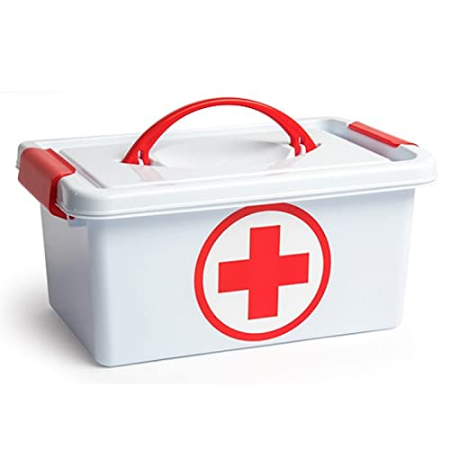 Acan Plastic Forte - Caja botiquín de plástico con asa de Color Blanco, de 29 x 18,5 x 13 cm,con Capacidad para 4 litros. Baúl con Tapa para organización de Productos Sanitarios