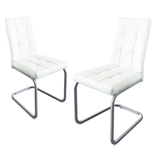 B&D home - Esszimmerstühle 2er Set | Vintage freischwinger Stühle | Kunstleder weiß