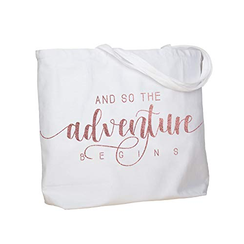 ElegantPark And So the Adventure Begins Wedding Bride Tote Bachelorette Party Gift Personalized Travel Shoulder Bag Canvas White with Rose Gold Glitter