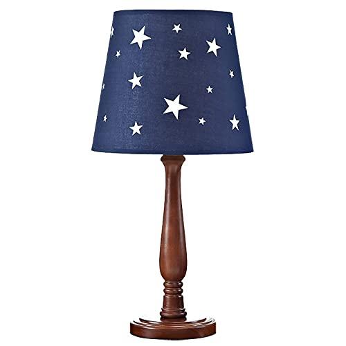 CHUIX Lámpara de Tela Creativa Lámpara de Mesa de Madera Maciza Retro Lámpara de Estar para niños Lámpara de Estudio de Noche Lámpara LED Lámpara de Mesa Azul Decorativa
