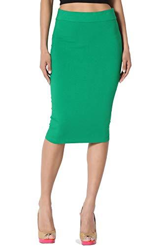 TheMogan Junior's Stretch Cotton Elastic High Waist Pencil Midi Skirt Kelly Green M