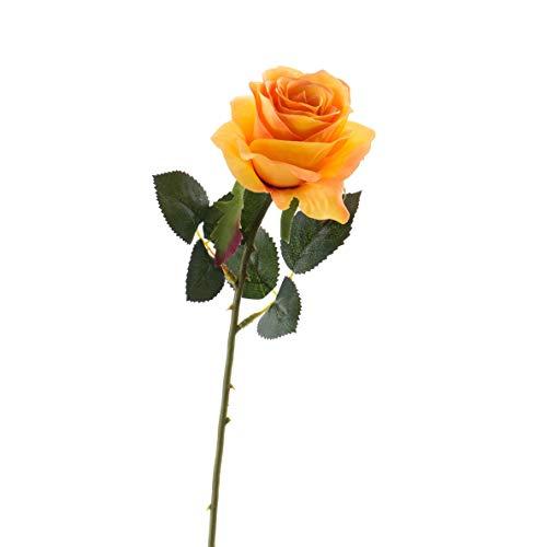 artplants.de Set 6 x Künstliche Rose Simony, gelb - orange, Textil, 45cm, Ø 8cm - Kunstblume