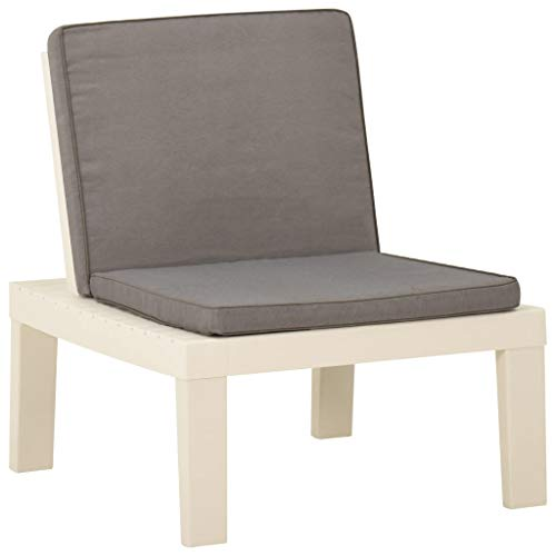 vidaXL Gartenstuhl mit Auflage Lounge Sessel Stuhl Relaxstuhl Gartensessel Gartenmöbel Balkonstuhl Terrassenstuhl Outdoor Kunststoff Weiß