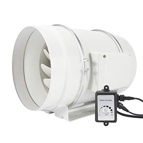 Hon&Guan Extractor de Aire Silencioso 200mm con Controlador de Velocidad Variable - Motor EC 110V-240V Ventilador de Conducto de Ventilación en Línea para Baño, Hidropónicos (ø200mm)