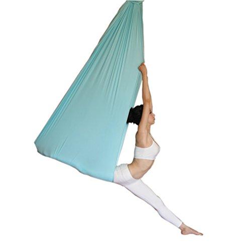 Wellsem Deluxe 5m aerea Yoga Hammock del tessuto di seta Pilates Volare Yoga Altalena per Yoga Bodybuilding (5mx2.8m) nero blu