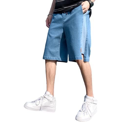 Pantalones Cortos de Mezclilla Informales para Hombre, Pantalones Holgados de Verano de Gran tamaño, cómodos, de Moda Salvaje, con Costura, Pantalones Deportivos de Cinco Puntos L
